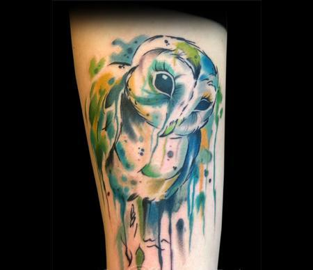 Awesome Watercolor Owl Tattoo