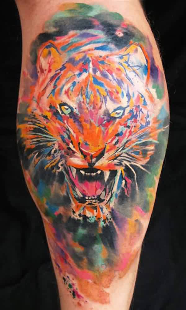 Awesome Watercolor Tiger Tattoo
