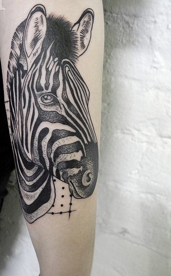 Awesome Zebra Tattoo On Arm