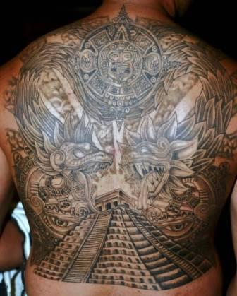 Aztec Pyramid And Dragons Tattoos On Whole Back
