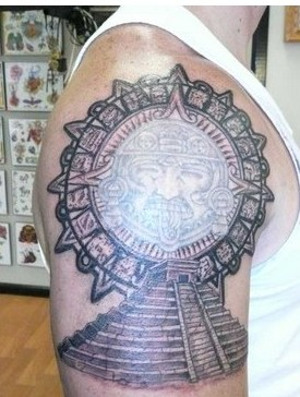Aztec Pyramid Tattoo On Biceps