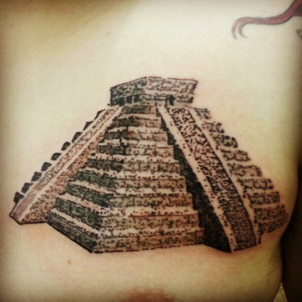 Aztec Pyramid Tattoo On Chest