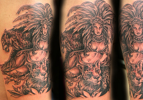 Aztec Queen And Animal Tattoos