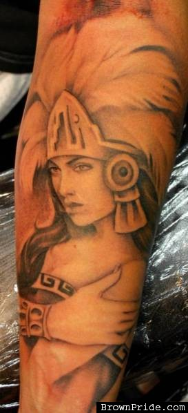 Aztec Queen Portrait Tattoo For Sleeve