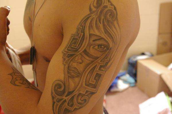 Aztec Queen Portrait Tattoo On Arm