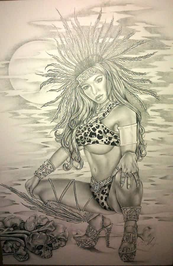 Aztec Queen Tattoo Design