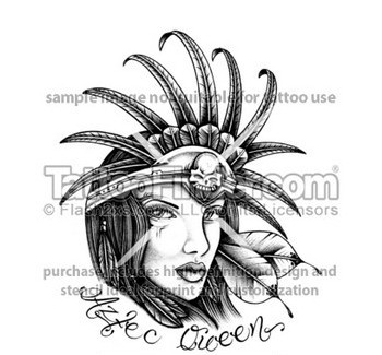 Aztec Queen Tattoo Sample