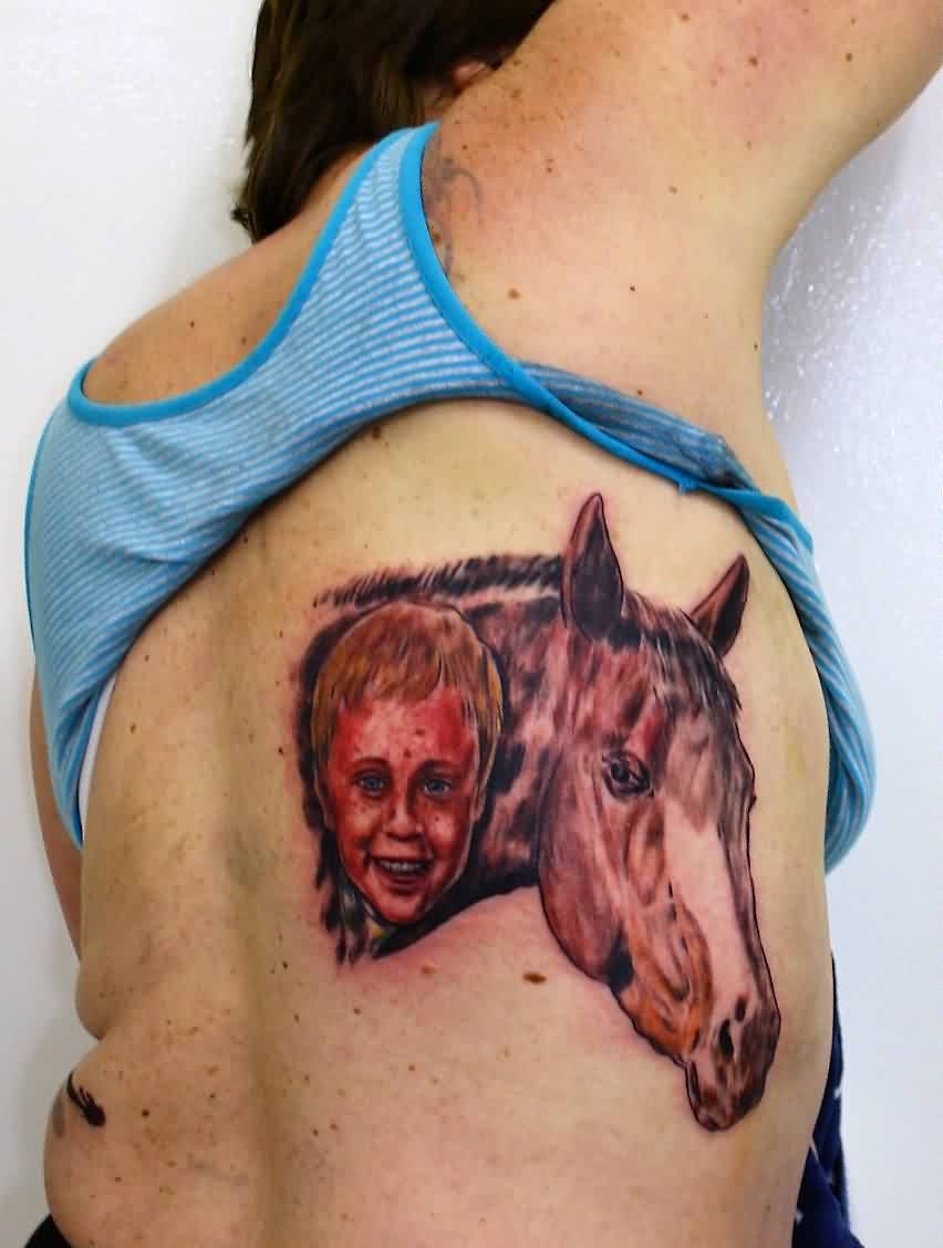Baby Boy And Horse Portrait Tattoos On Back