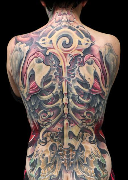 Back Bones And Skull Tattoos On Whole Back