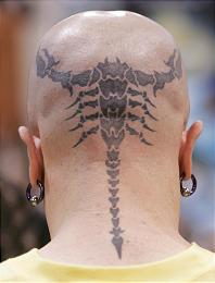 Back Head Scorpion Tattoo