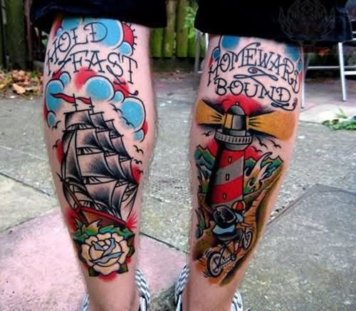 Back Legs Ship And Lighthouse Tattoos For Boys