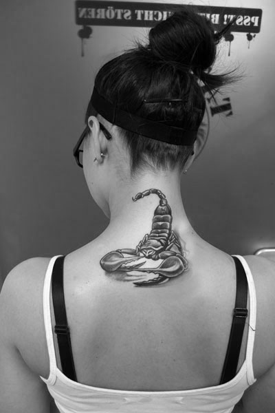 Back Neck Grey Scorpion Tattoo