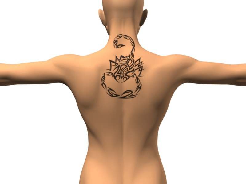 Back Neck Tribal Scorpion Tattoo Design For Men