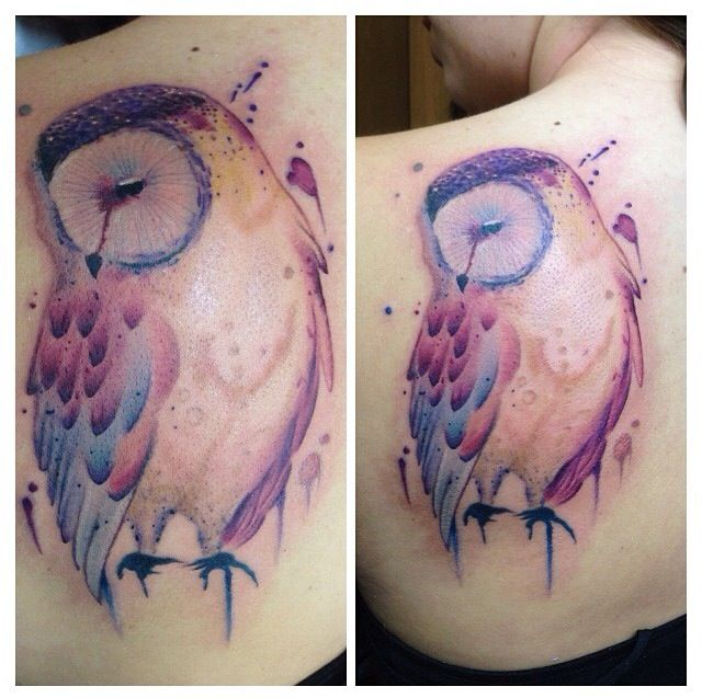 Back Shoulder Watercolor Owl Tattoo