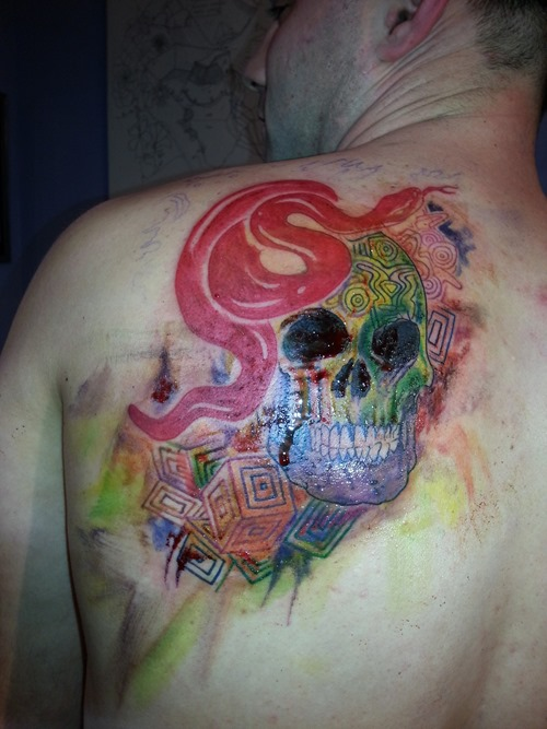 Back Shoulder Watercolor Tattoos For Men
