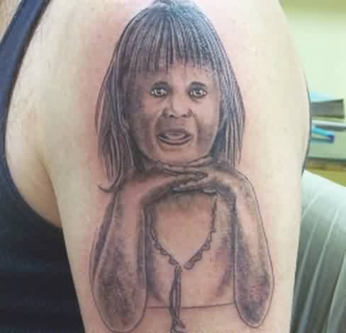 Bad Portrait Tattoo On Arm