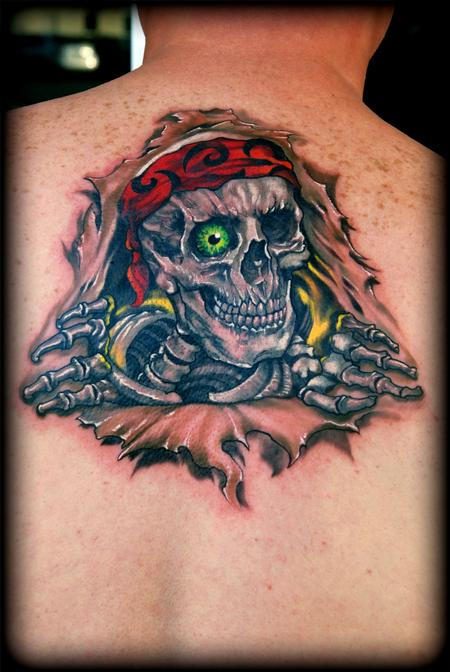 Bad To The Bone Tattoo On Upperback