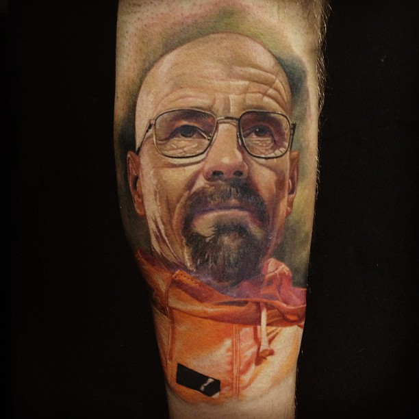 Bald Man Portrait Tattoo