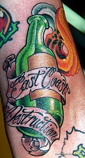Banner And Green Bottle Tattoos
