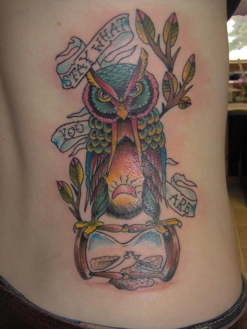 Banner Owl On Old Hour Glass Tattoo