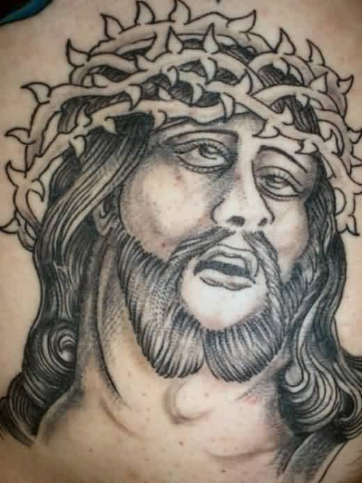 Barbed Head Jesus Portrait Tattoo
