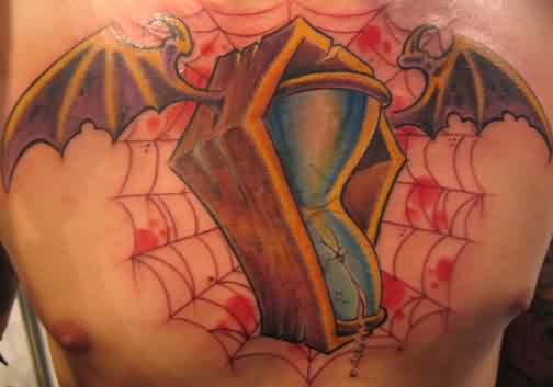 Bat Wing Glass Coffin And Spiderweb Tattoos On Chest