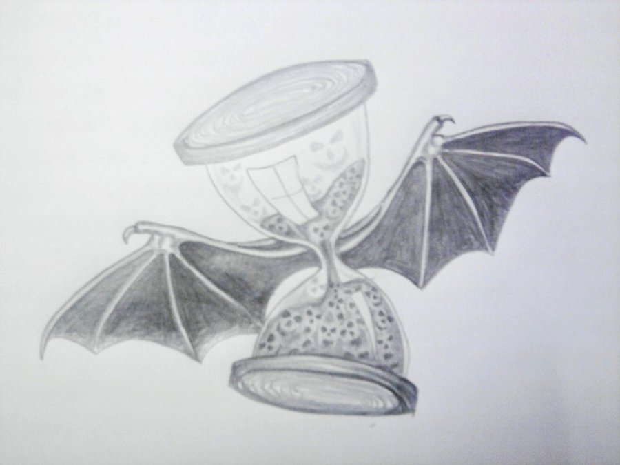 Bat Winged Hourglass Tattoo Design