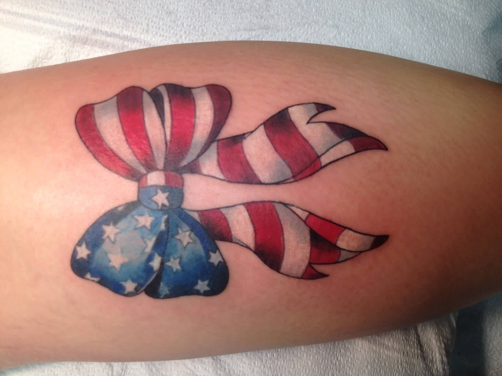 Beautiful American Flag Bow Tattoo