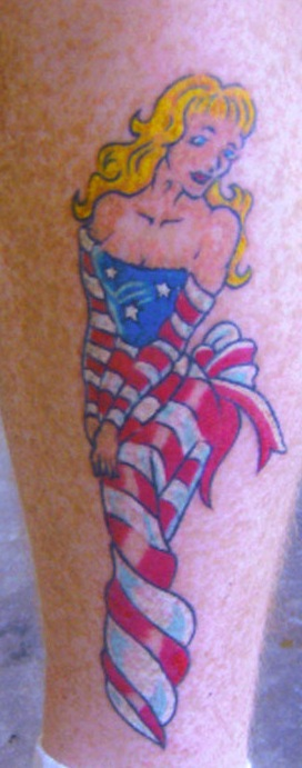 Beautiful American Flag Dressed Girl Tattoo