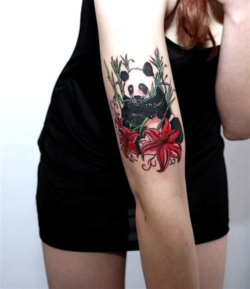 Beautiful Animal And Flower Tattoos On Arm
