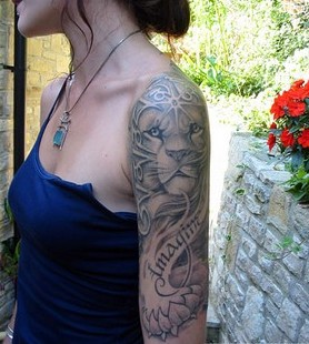 Beautiful Animal And Flower Tattoos On Half Sleeve