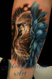 Beautiful Animal Face And Flower Tattoos