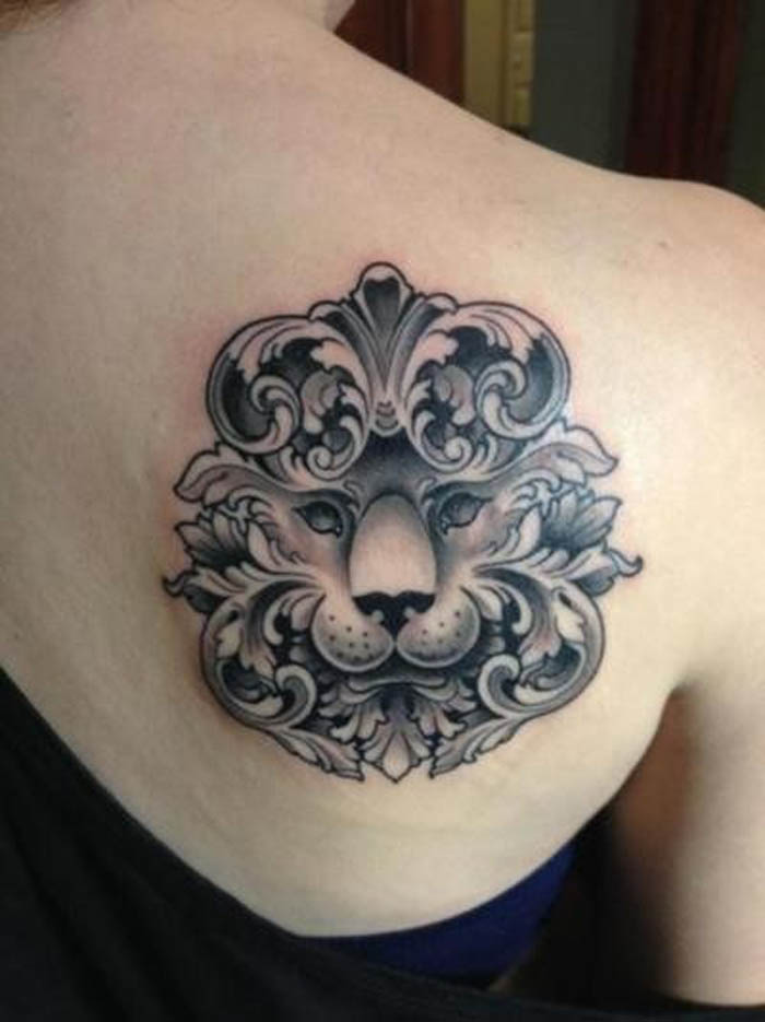Beautiful Animal Head Tattoo On Right Back Shoulder