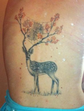 Beautiful Animal Tattoo On Backbody For Women