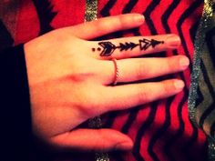 Beautiful Arrow Tattoo On Ring Finger