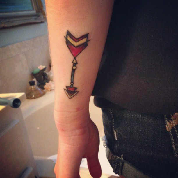 Beautiful Arrow Tattoo On Side of Wrist