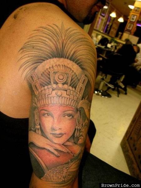 Beautiful Aztec Queen Portrait Tattoo On Arm