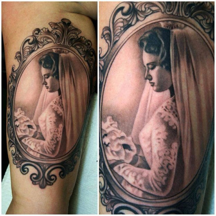 Beautiful Bride Portrait In Frame Tattoo