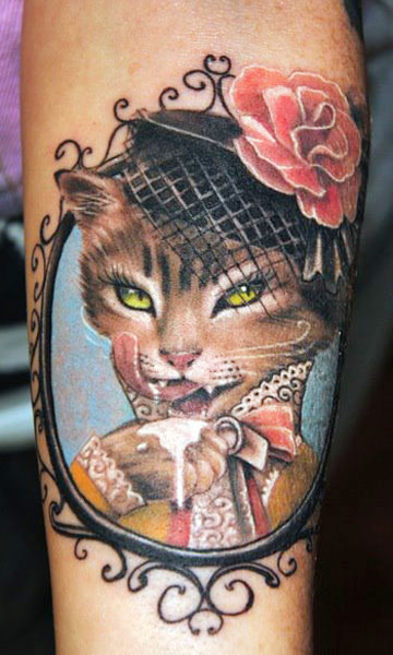 Beautiful Cat Frame And Rose Tattoos