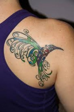 Beautiful Design Watercolor Bird Tattoo On Back Of Shoulder
