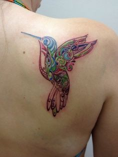 Beautiful Design Watercolor Hummingbird Tattoo