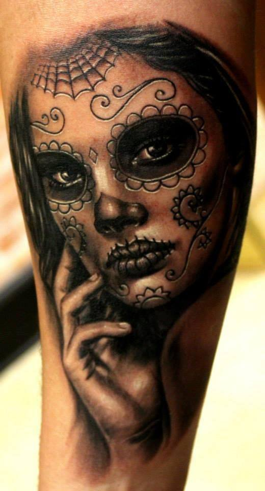 Beautiful Dia De Los Muertos Girl Portrait Tattoo