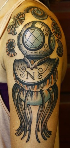 Beautiful Diving Helmet Tattoo On Biceps