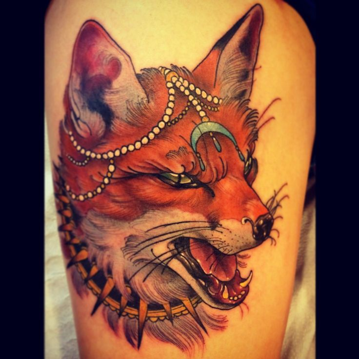 Beautiful Fox Tattoo On Thigh