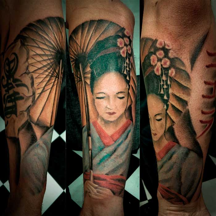 Beautiful Geisha Portrait Tattoos