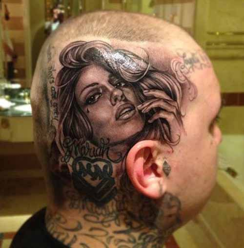 Beautiful Girl Portrait Tattoo On Head