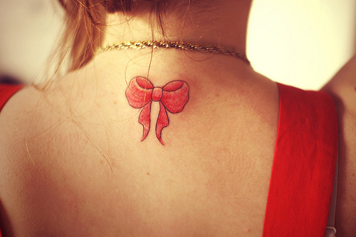 Beautiful Girly Ribbon Bow Tattoo