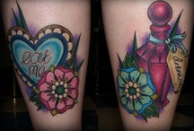 Beautiful Heart Flower And Bottle Tattoos