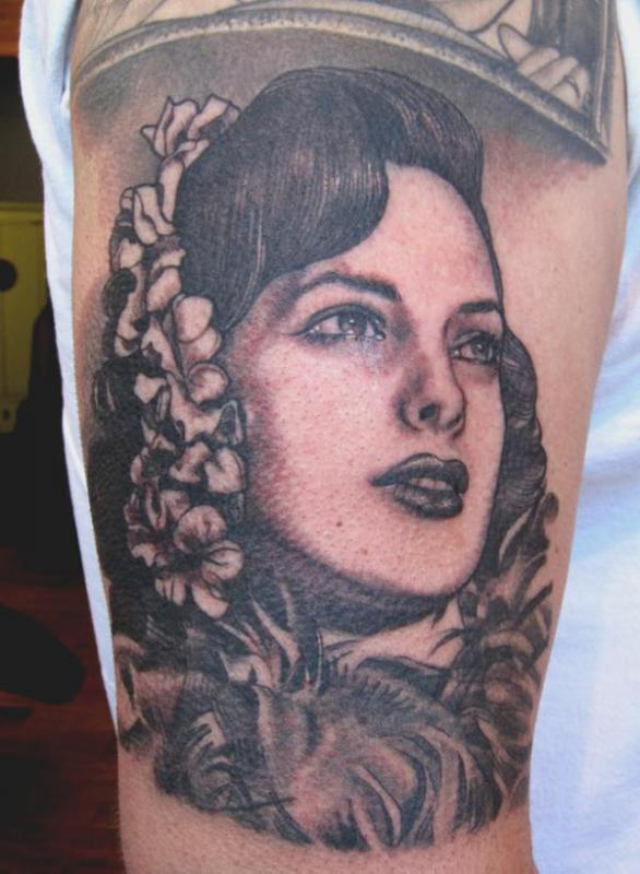 Beautiful Kat Von D Portrait Tattoo On Muscles