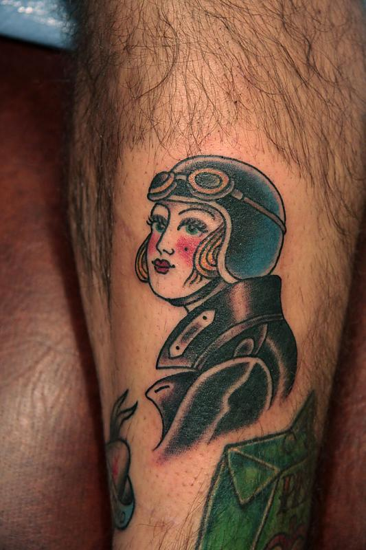 Beautiful Lady In Helmet Tattoo On Leg
